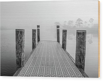 Wood Print featuring the photograph Foggy Dock In Alabama  by John McGraw