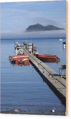 Foggy Dock Wood Print by Marty Koch