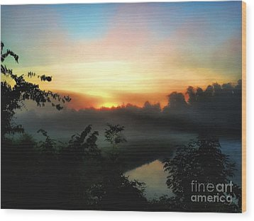 Foggy Edges Sunrise Wood Print