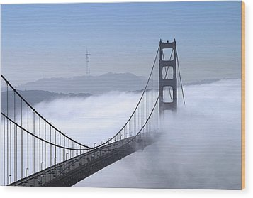 Foggy Golden Gate Bridge Wood Print by Chuck Kuhn