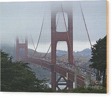 Foggy Golden Gate Wood Print by Margaret Brooks