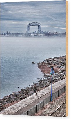 Foggy Lake Superior Afternoon Wood Print