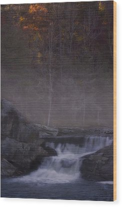 Wood Print featuring the photograph Foggy Morning At Linville Falls by Ellen Heaverlo