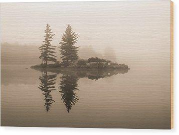 Foggy Morning Caution Wood Print