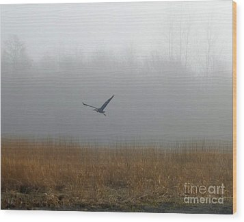 Foggy Morning Heron In Flight Wood Print by Helen Campbell