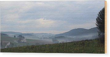 Foggy Morning In The Valley Wood Print by Liz Allyn
