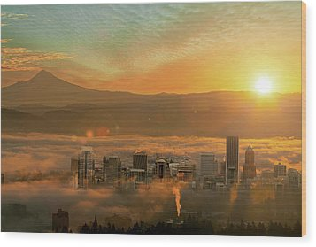 Foggy Morning Over Portland Cityscape During Sunrise Wood Print by David Gn