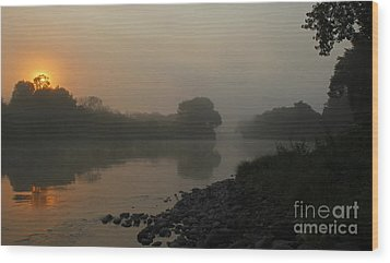 Wood Print featuring the photograph Foggy Morning Red River Of The North by Steve Augustin