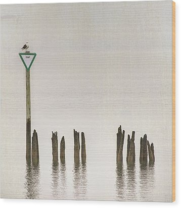 Wood Print featuring the photograph Foggy Morning Texture Keyport Harbor by Gary Slawsky