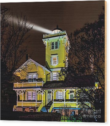 Wood Print featuring the photograph Foggy Night At Hereford by Nick Zelinsky