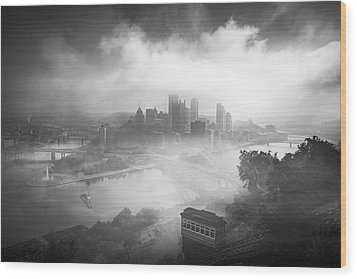 Wood Print featuring the photograph Foggy Pittsburgh  by Emmanuel Panagiotakis
