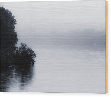 Foggy River Wood Print by Bill Cannon