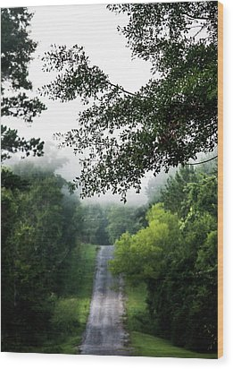 Wood Print featuring the photograph Foggy Road To Eternity  by Shelby Young