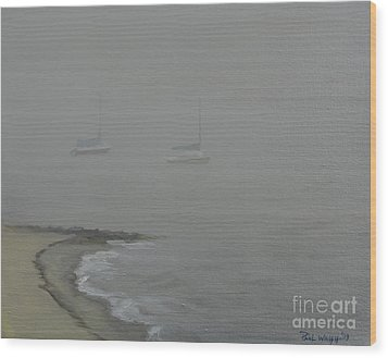 Foggy Shore Wood Print by Paul Walsh