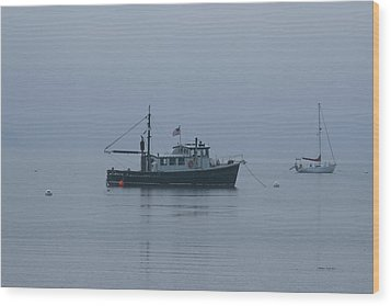 Foggy Start To The Day Penobscot Bay Maine Wood Print by Brian M Lumley