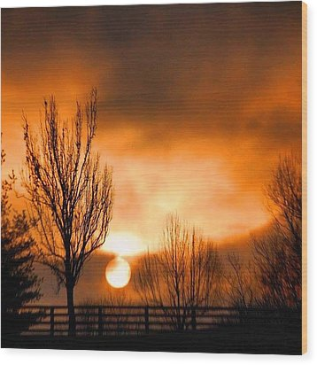 Foggy Sunrise Wood Print by Sumoflam Photography