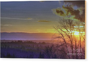 Foggy Sunset Wood Print by Victor K