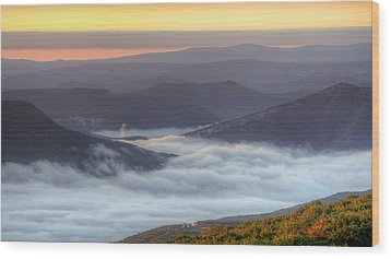 Foggy Valley Morning Wood Print