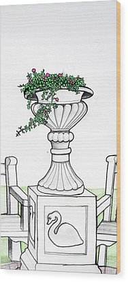 Wood Print featuring the drawing Foliage Fountain by Mary Ellen Frazee