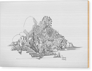 Wood Print featuring the drawing Foliage Trees And Rocks by Padamvir Singh