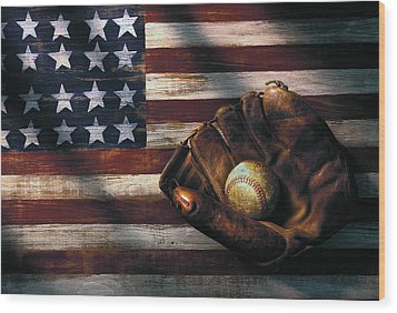Folk Art American Flag And Baseball Mitt Wood Print