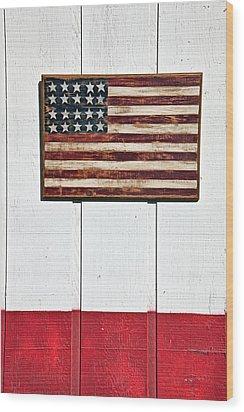 Folk Art American Flag On Wooden Wall Wood Print by Garry Gay