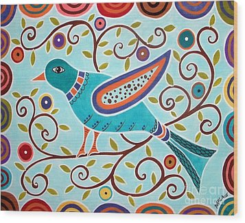 Folk Bird Wood Print by Karla Gerard