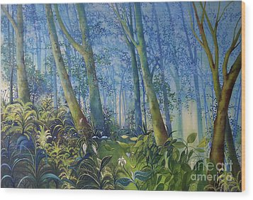 Follow Me Oil Painting Of A Magic Forest Wood Print by Maja Sokolowska