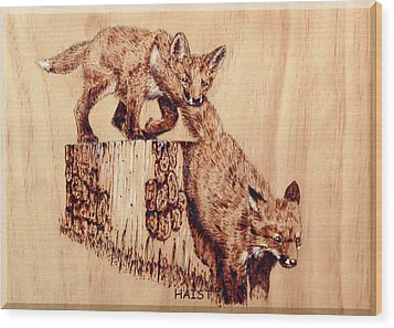 Wood Print featuring the pyrography Follow The Leader by Ron Haist