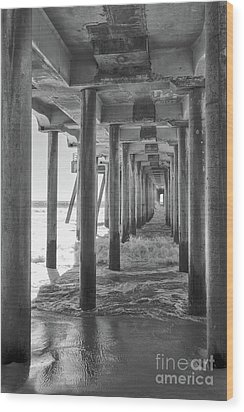 Wood Print featuring the photograph Follow The Lines Under Huntington Beach Pier by Ana V Ramirez