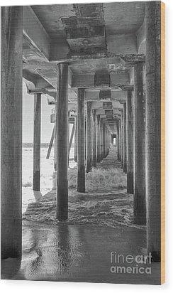 Follow The Lines Under Huntington Beach Pier Wood Print by Ana V Ramirez