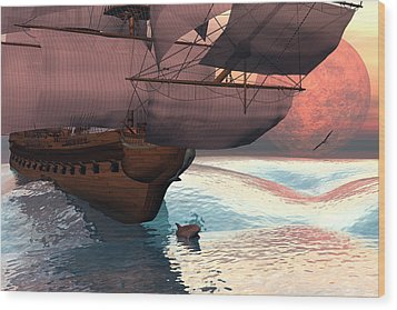 Following The Navigator Wood Print by Claude McCoy
