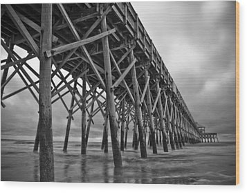Folly Beach Pier Black And White Wood Print by Dustin K Ryan