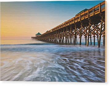 Folly Beach Pier Charleston Sc Coast Atlantic Ocean Pastel Sunrise Wood Print
