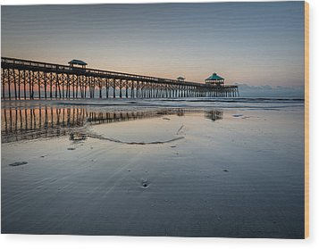 Folly Beach South Carolina Pier Wood Print by Rick Dunnuck