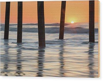 Folly Beach Sunrise Charleston South Carolina Wood Print by Mark VanDyke