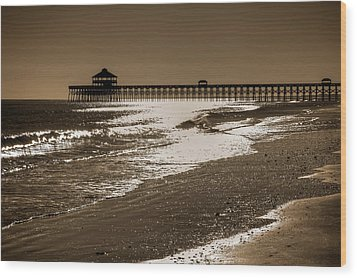 Folly Pier Sunset Wood Print by Drew Castelhano