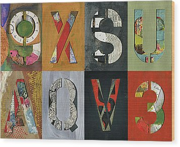 8 Number Letter Grid  Wood Print