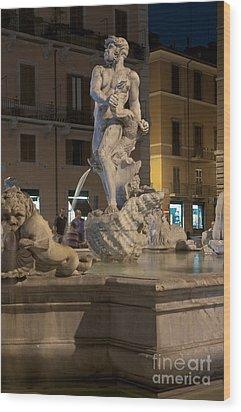 Fontana Del Moro II Wood Print by Fabrizio Ruggeri