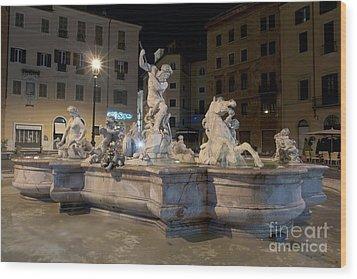 Fontana Del Nettuno I Wood Print by Fabrizio Ruggeri