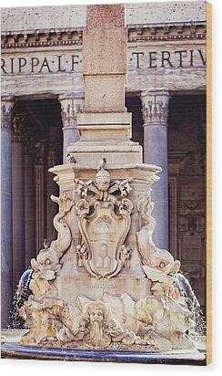 Fontana Del Pantheon - Pantheon Fountain II Wood Print