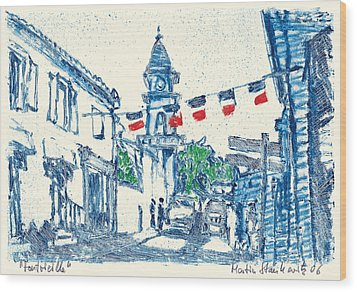 Wood Print featuring the painting Fontvieille Village Provence by Martin Stankewitz