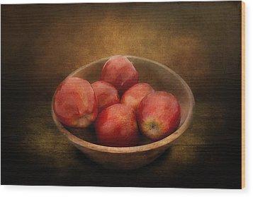 Food - Apples - A Bowl Of Apples  Wood Print by Mike Savad