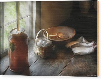 Food - Morning Eggs Wood Print by Mike Savad