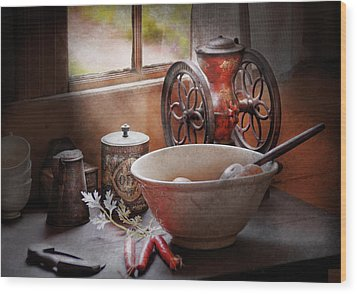 Food - The Morning Chores Wood Print by Mike Savad