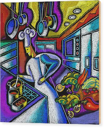 Wood Print featuring the painting Food And Restaurant by Leon Zernitsky