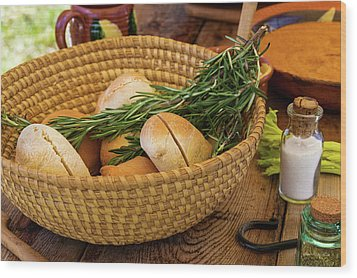 Food - Bread - Rolls And Rosemary Wood Print by Mike Savad