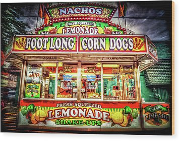 Wood Print featuring the photograph Foot Long Corn Dogs by Spencer McDonald