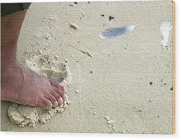 Foot  On  Beach -  Image  2 -  Cropped  Version Wood Print