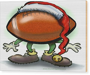 Football Christmas Wood Print by Kevin Middleton